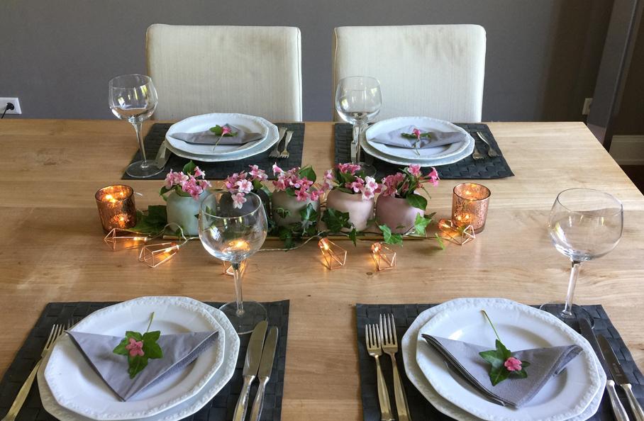 Kleine Tisch-deko als Centerpiece 5er Set pastell