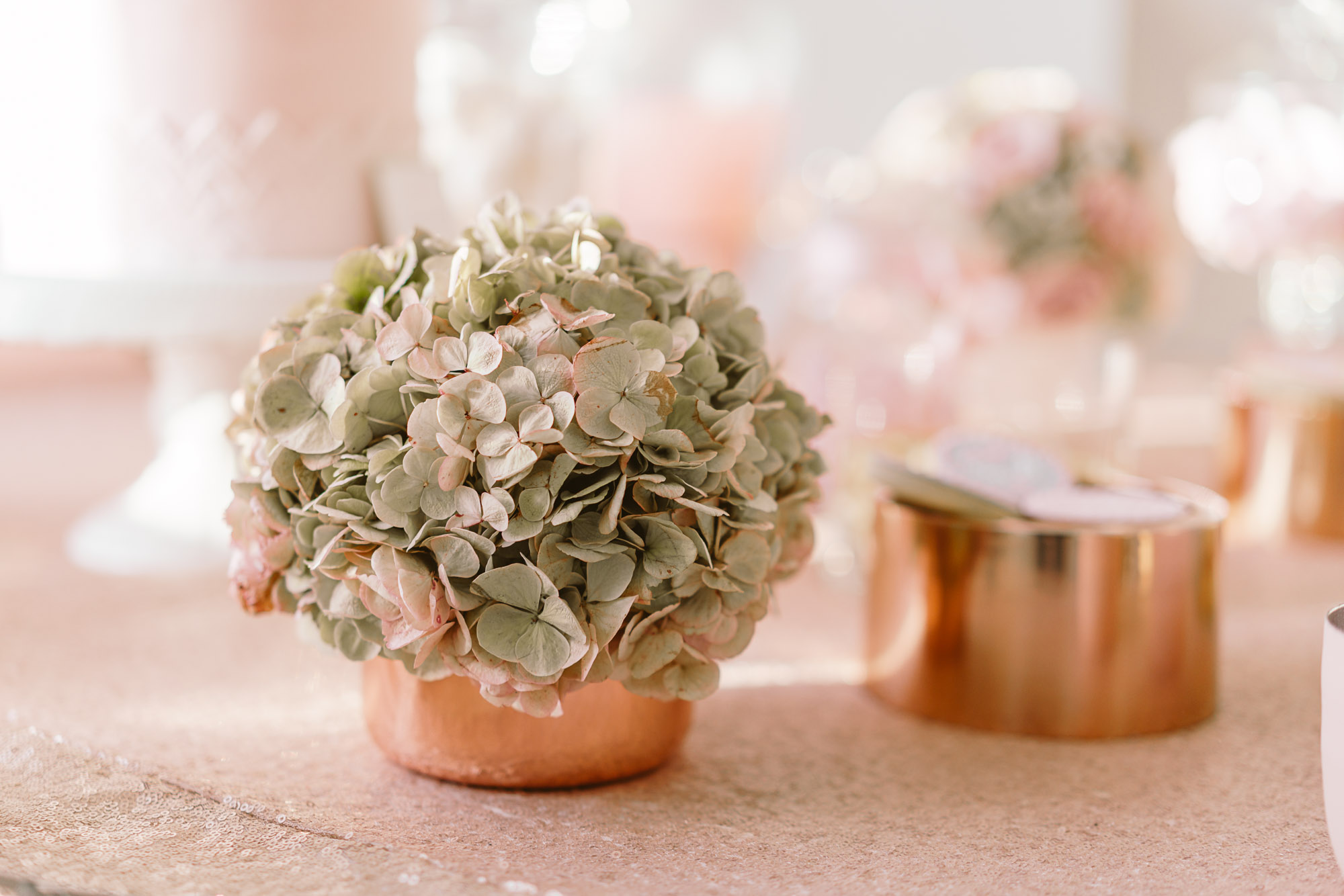 Hortensien Kupfervasen getrocknet Tischdeko Rosa Pastell