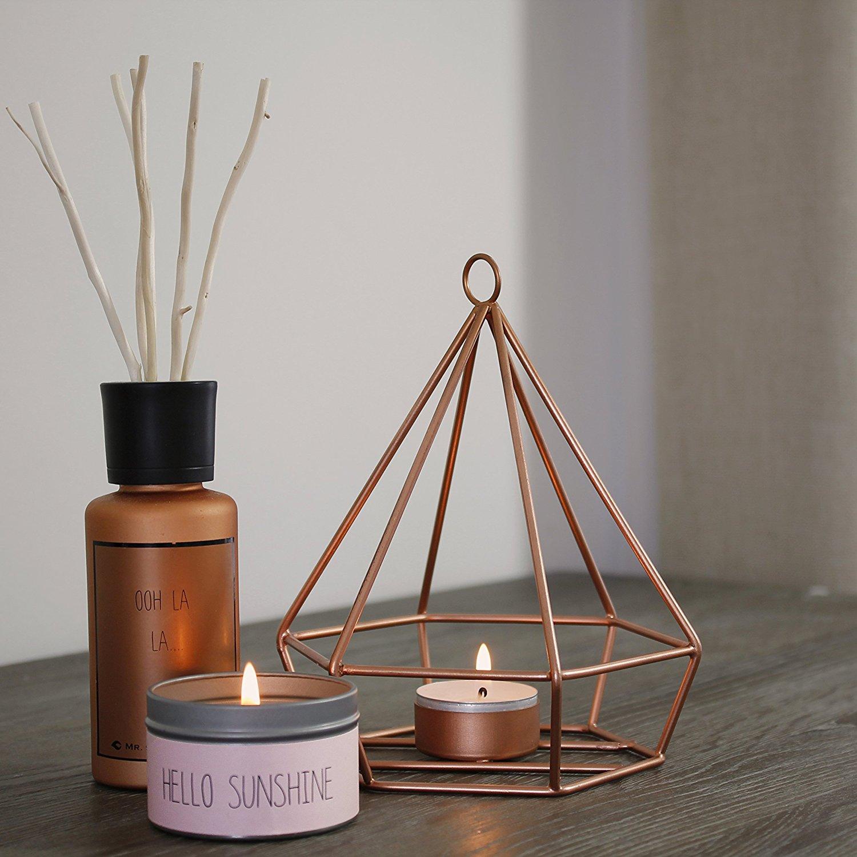 Origami-Kerzenleuchter in Kupfer mit Duftkerzen - voll im Trend