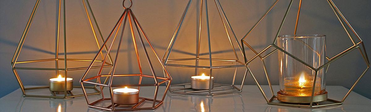Zauberhafte Kupfer-Kerzenleuchter im Origami-Stil