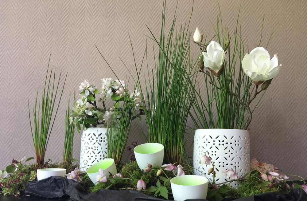 Grün weisse Tischdeko Frühling