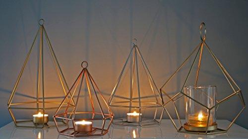 Teelichthalter Geometrisches Muster Kupfer