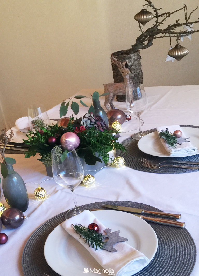 Weihnachten Trend Pastelltöne Tischdeko in rose und grau