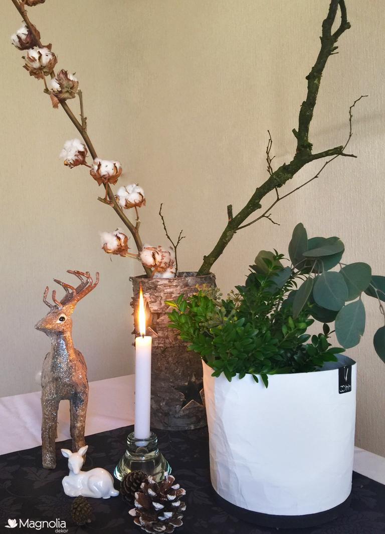 Uebertopf Lubech Living OOhh weiss recycled Papier Wasserdicht  Weihnachten Reh Eucalyptus